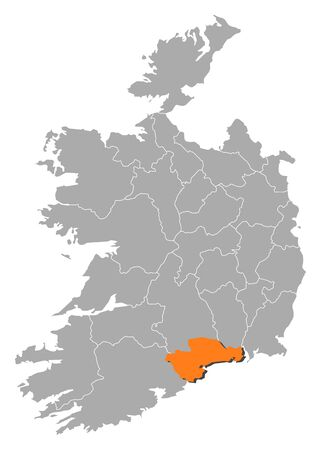 orange county: Map of Ireland with the provinces, Waterford is highlighted by orange.