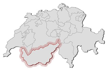 Map of Swizerland with the provinces, Valais is highlighted by a hatching.