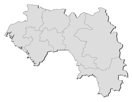 Map of Guinea with the provinces, Conakry is highlighted.
