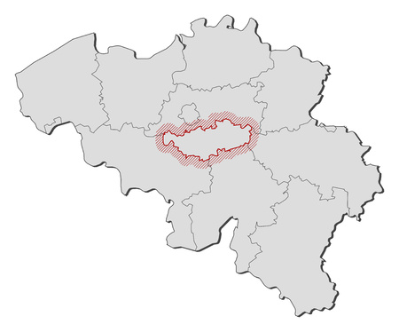Map of Belgium with the provinces, Walloon Brabant is highlighted by a hatching.