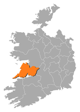 orange county: Map of Ireland with the provinces, Clare is highlighted by orange.