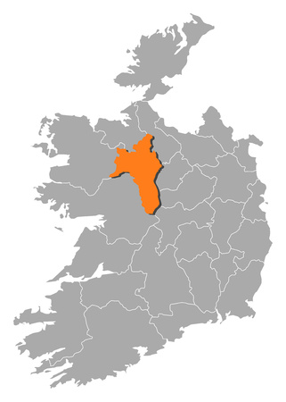 comin: Map of Ireland with the provinces, Roscommon is highlighted by orange.