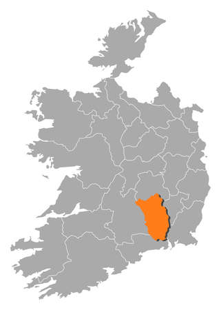 orange county: Map of Ireland with the provinces, Kilkenny is highlighted by orange. Illustration