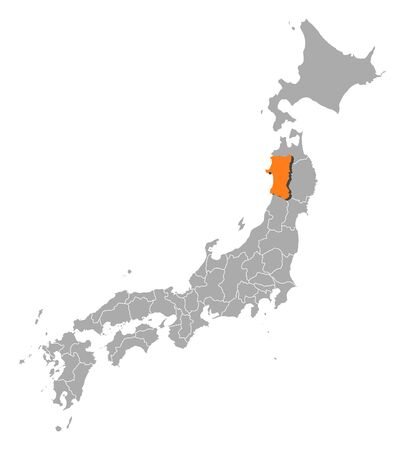 akita: Map of Japan with the provinces, Akita is highlighted by orange.