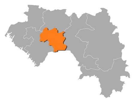 Map of Guinea with the provinces, Mamou is highlighted by orange. Ilustração