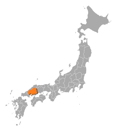 hiroshima: Map of Japan with the provinces, Hiroshima is highlighted by orange.