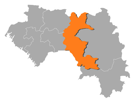 Map of Guinea with the provinces, Faranah is highlighted by orange. Ilustração