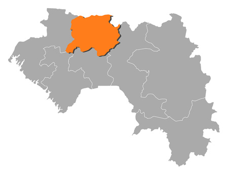 Map of Guinea with the provinces, Lab? is highlighted by orange.