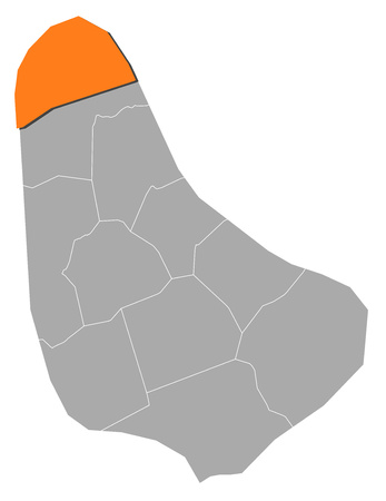 lucy: Map of Barbados with the provinces, Saint Lucy is highlighted by orange.