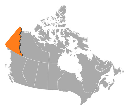 yukon: Map of Canada with the provinces, Yukon is highlighted by orange.