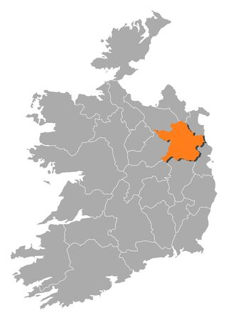 county meath: Map of Ireland with the provinces, Meath is highlighted by orange.