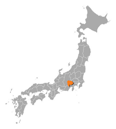 Map of Japan with the provinces, Yamanashi is highlighted by orange.