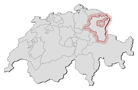 swizerland: Map of Swizerland with the provinces, St. Gallen is highlighted by a hatching. Illustration