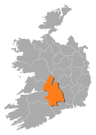 orange county: Map of Ireland with the provinces, Tipperary is highlighted by orange. Illustration