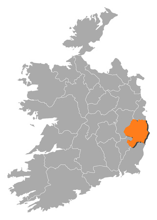 orange county: Map of Ireland with the provinces, Wicklow is highlighted by orange. Illustration