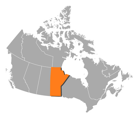 manitoba: Map of Canada with the provinces, Manitoba is highlighted by orange.