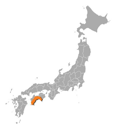 Map of Japan with the provinces, Kochi is highlighted by orange.