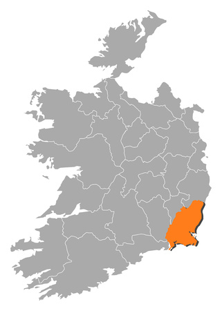 loch: Map of Ireland with the provinces, Wexford is highlighted by orange.