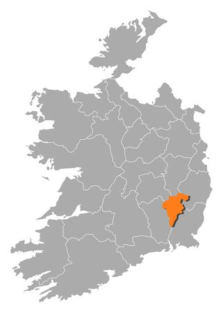orange county: Map of Ireland with the provinces, Carlow is highlighted by orange.