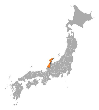 ishikawa: Map of Japan with the provinces, Ishikawa is highlighted by orange.