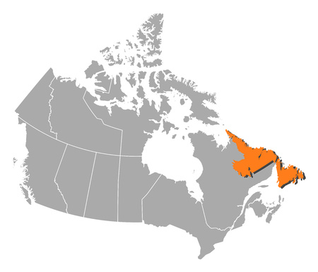 Map of Canada with the provinces, Newfoundland and Labrador is highlighted by orange.