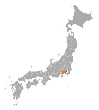 kanagawa: Map of Japan with the provinces, Kanagawa is highlighted by orange. Illustration