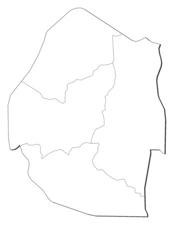 Map of Swaziland, contous as a black line. Illustration
