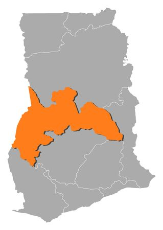 Map of Ghana with the provinces, Brong-Ahafo is highlighted by orange.
