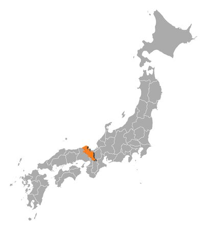 kyoto: Map of Japan with the provinces, Kyoto is highlighted by orange. Illustration