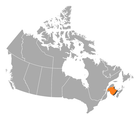 nb: Map of Canada with the provinces, New Brunswick is highlighted by orange.