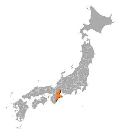 Map of Japan with the provinces, Mie is highlighted by orange.