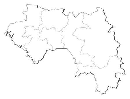 Map of Guinea, contous as a black line.