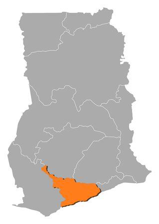 Map of Ghana with the provinces, Central is highlighted by orange.