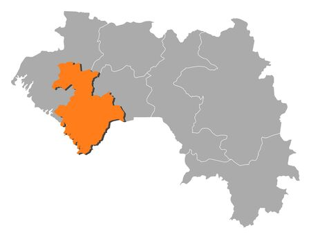 Map of Guinea with the provinces, Kindia is highlighted by orange.