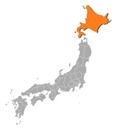 hokkaido: Map of Japan with the provinces, Hokkaido is highlighted by orange. Illustration