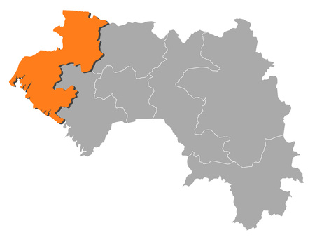 republique: Map of Guinea with the provinces, Bok? is highlighted by orange.