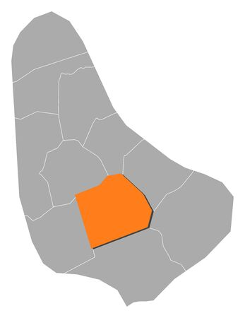 george: Map of Barbados with the provinces, Saint George is highlighted by orange. Illustration