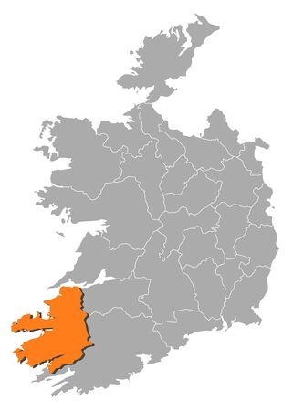 Map of Ireland with the provinces, Kerry is highlighted by orange. Illustration