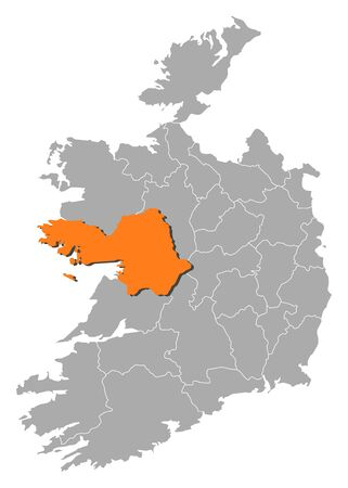 orange county: Map of Ireland with the provinces, Galway is highlighted by orange.