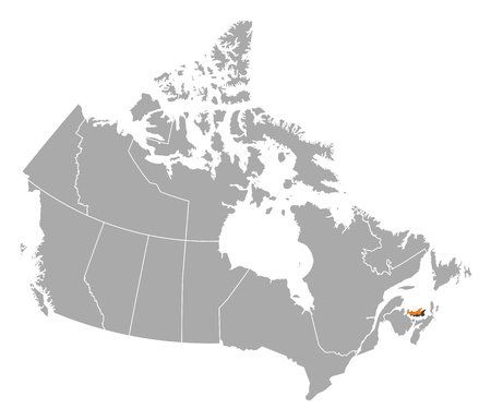 edward: Map of Canada with the provinces, Prince Edward Island is highlighted by orange.
