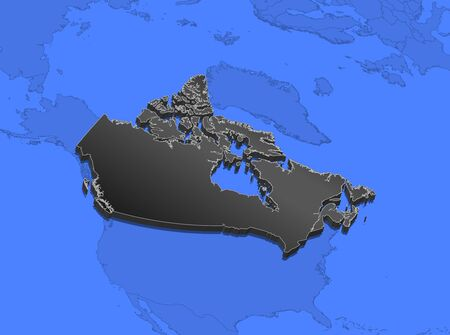 shady: Map of Canada and nearby countries, Canada as a black piece. Stock Photo