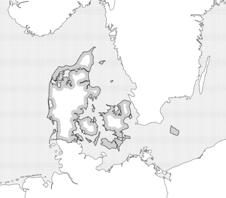 danmark: Map of Danmark and nearby countries in black and white, Danmark is highlighted by a hatching. Illustration