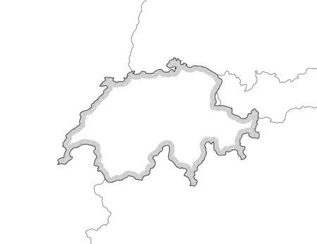 swizerland: Map of Swizerland and nearby countries in black and white, Swizerland is highlighted by a hatching.