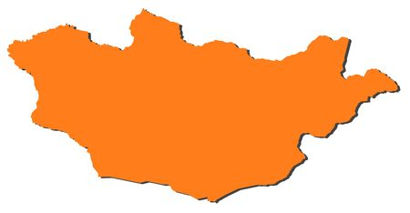 Map of Mongolia, filled in orange.