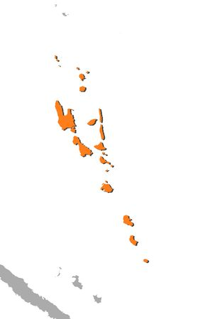 Map of Vanuatu and nearby countries, Vanuatu is highlighted in orange.