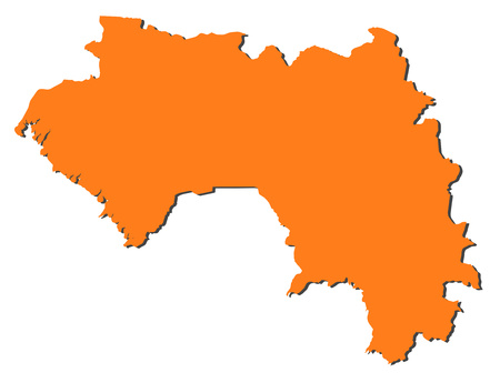 Map of Guinea, filled in orange.