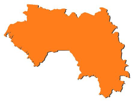 Map of Guinea, filled in orange.
