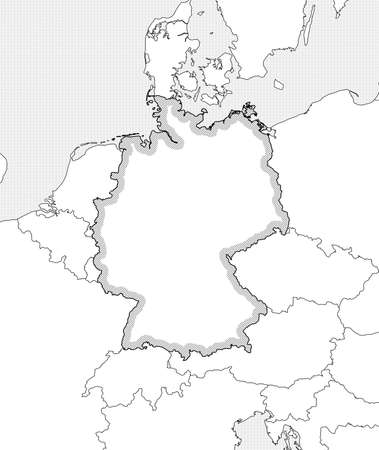 federal republic of germany: Map of Germany and nearby countries in black and white, Germany is highlighted by a hatching. Illustration