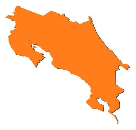 costa rica: Map of Costa Rica, filled in orange.