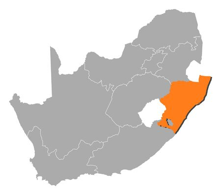 Map of South Africa with the provinces, KwaZulu-Natal is highlighted by orange.